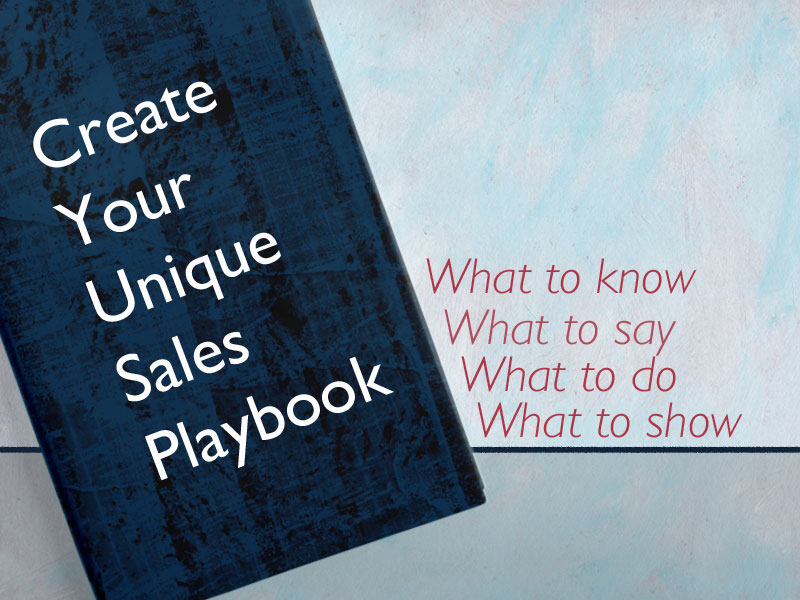 A representation of a sales playbook for best practices with superimposed text